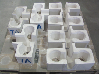 Shell-Insulated Tabletop Refractory Cross Feeders Before Shipping